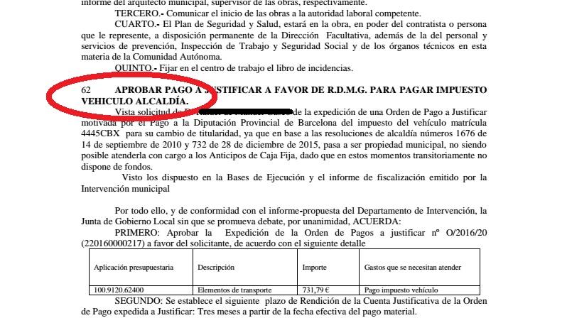 Documento de junta de gobierno que confirma el estatus de vehículo de alcaldía